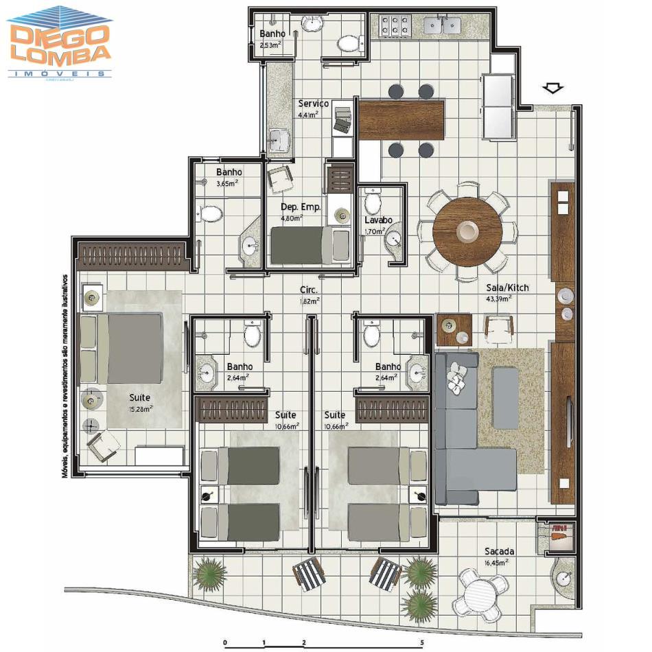 Apartamento 3 suites com dependencia