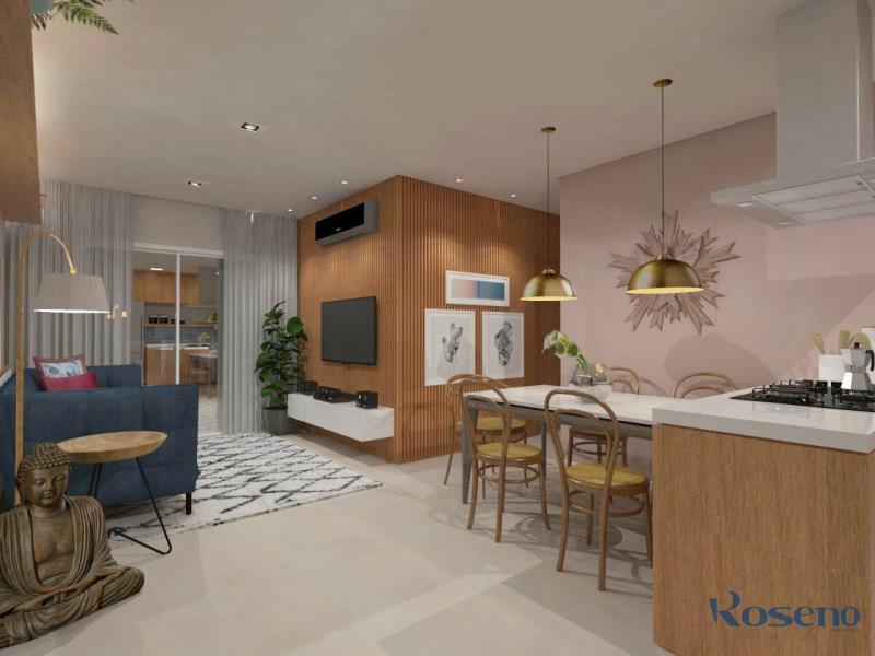 Sala integrada com a cozinha gourmet
