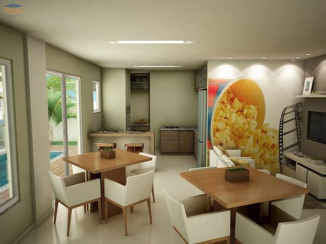 Salão de Festas - Equipado com cozinha, banheiro, despensa e rack de TV e som. Será entregue decorado, com mobília e eletrodomésticos