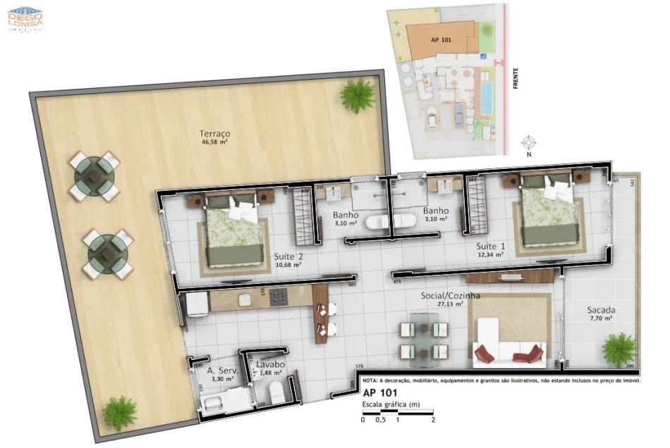 Apartamento 101 Garden - Apartamento Garden com 2 suítes, lavabo, varanda coberta e descoberta, sala, cozinha, lavanderia, 1 vaga de garagem e hobby-box.