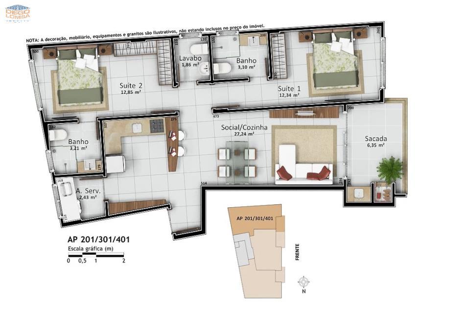 Apartamentos 201, 301 e 401 - Apartamentos com 2 suítes, lavabo, varanda com churrasqueira, sala, cozinha, lavanderia e hobby-box. Apto 201 com 1 vaga, 301 com 1 vaga dupla e 401 com 2 vagas de garagem separadas