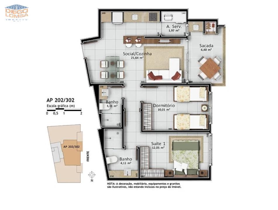 Apartamentos 202 e 302 - Apartamentos com 1 suíte e 1 dormitório, varanda com churrasqueira, sala, cozinha, lavanderia, 1 vaga de garagem e hobby-box