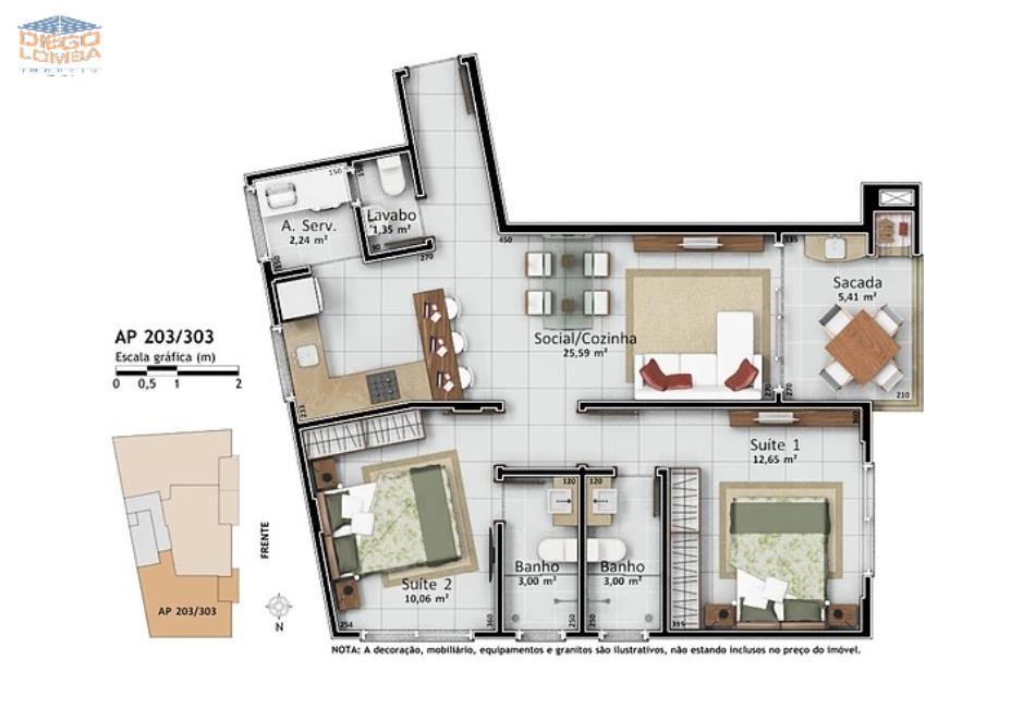 Apartamentos 203 e 303 - Apartamentos com 2 suítes, lavabo, varanda com churrasqueira, sala, cozinha, lavandeira, 1 vaga dupla de garagem e hobby-box