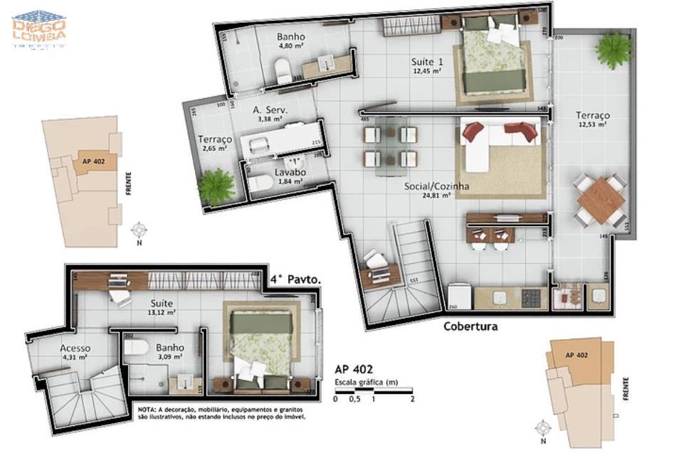 Aoartamento 402 Duplex - Apartamento Duplex com 2 suítes, lavabo, terraço com churrasqueira, sala, cozinha, lavanderia com terraço, 1 vaga dupla de garagem e hobby-box. Vista para o mar!