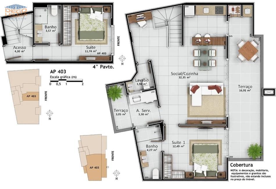 Apartamento 403 Duplex - Apartamento Duplex com 2 suítes, lavabo, terraço com churrasqueira, sala, cozinha, lavanderia com terraço, 1 vaga dupla de garagem e hobby-box. Vista para o mar!