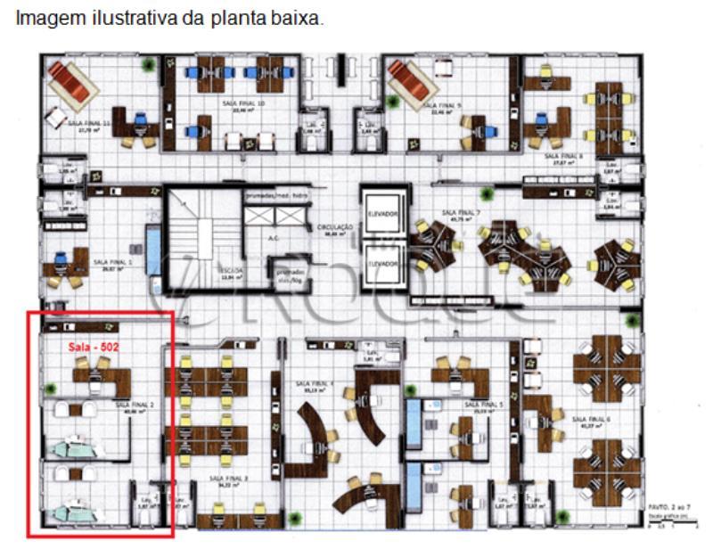 Sala Codigo 1427 a Venda no bairro Pagani na cidade de Palhoça Planta baixa sala 502